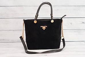 Женская замшевая сумка Prada (Прада), черный цвет ( код: IBG070B1 )