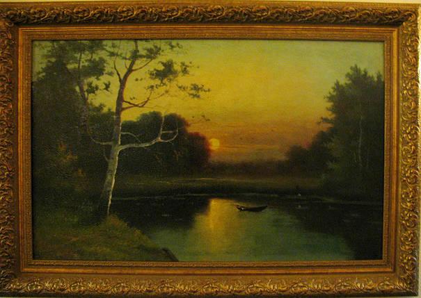 Картина «Закат солнца у лесного озера», А.А.Писемский  кон.ХІХ-го в., фото 2