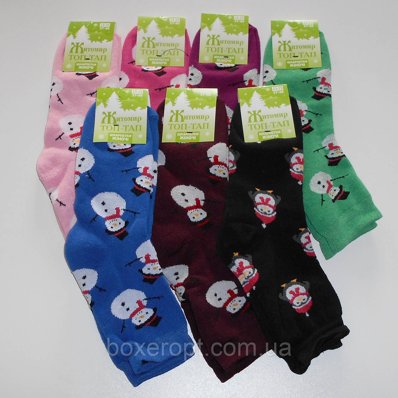 Женские махровые носки Топ-Тап - 11.50 грн./пара (снеговики), фото 1