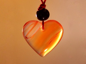 Кулон сердоликовый сердце