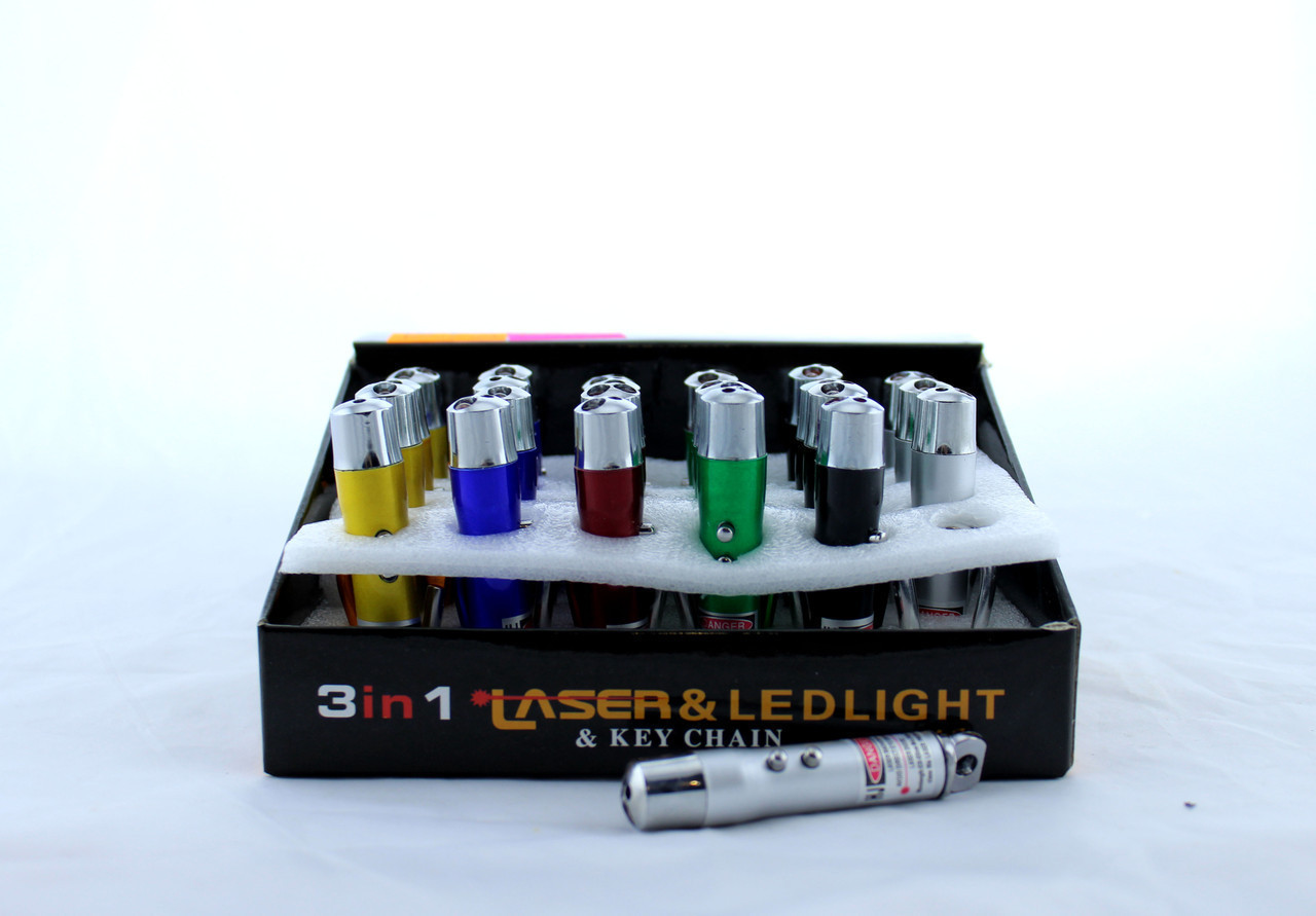 Брелок / ультрафиолетовый фонарик / фонарик led / лазер 4в1  LASER ZK 117-3L (Цена за упаковку 24 штуки)