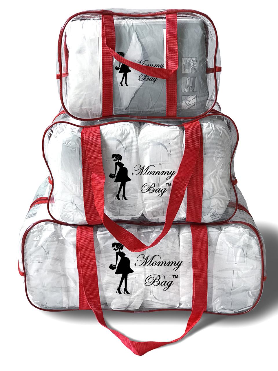 Набор из 3 прозрачных сумок в роддом Mommy Bag сумка - S,M,L - Красные