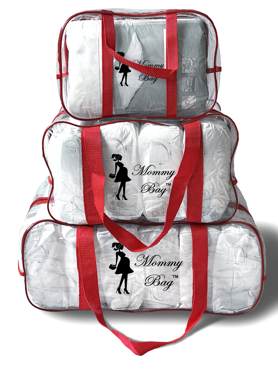 cf65f20a8681 Набор из 3 прозрачных сумок в роддом Mommy Bag сумка - S,M,L ...