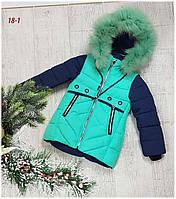 Зимняя куртка на 100% холлофайбере, размер от 98 см до  122 см, 18-1, фото 1