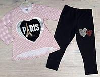 """Детскийкостюмдлядевочки """"Paris"""" 3-6лет, светло-розовая кофта и черные леггинсы"""