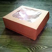 """Коробка для торта """"Крафт"""" с окошком 25*25*9 см"""