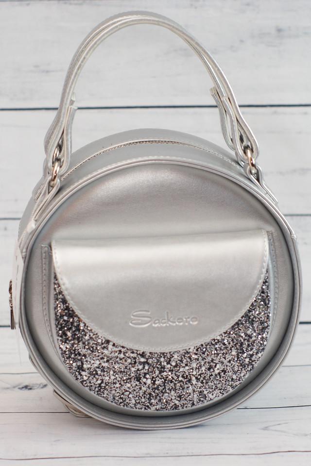 Женская, круглая сумка с глиттером