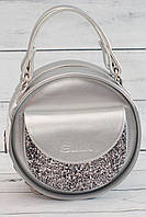 Женская, стильная, круглая серебристая сумка с глиттером ( код: IBG086S-1 ), фото 1