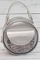 Женская, стильная, круглая серебристая сумка с глиттером ( код: IBG086S-1 )