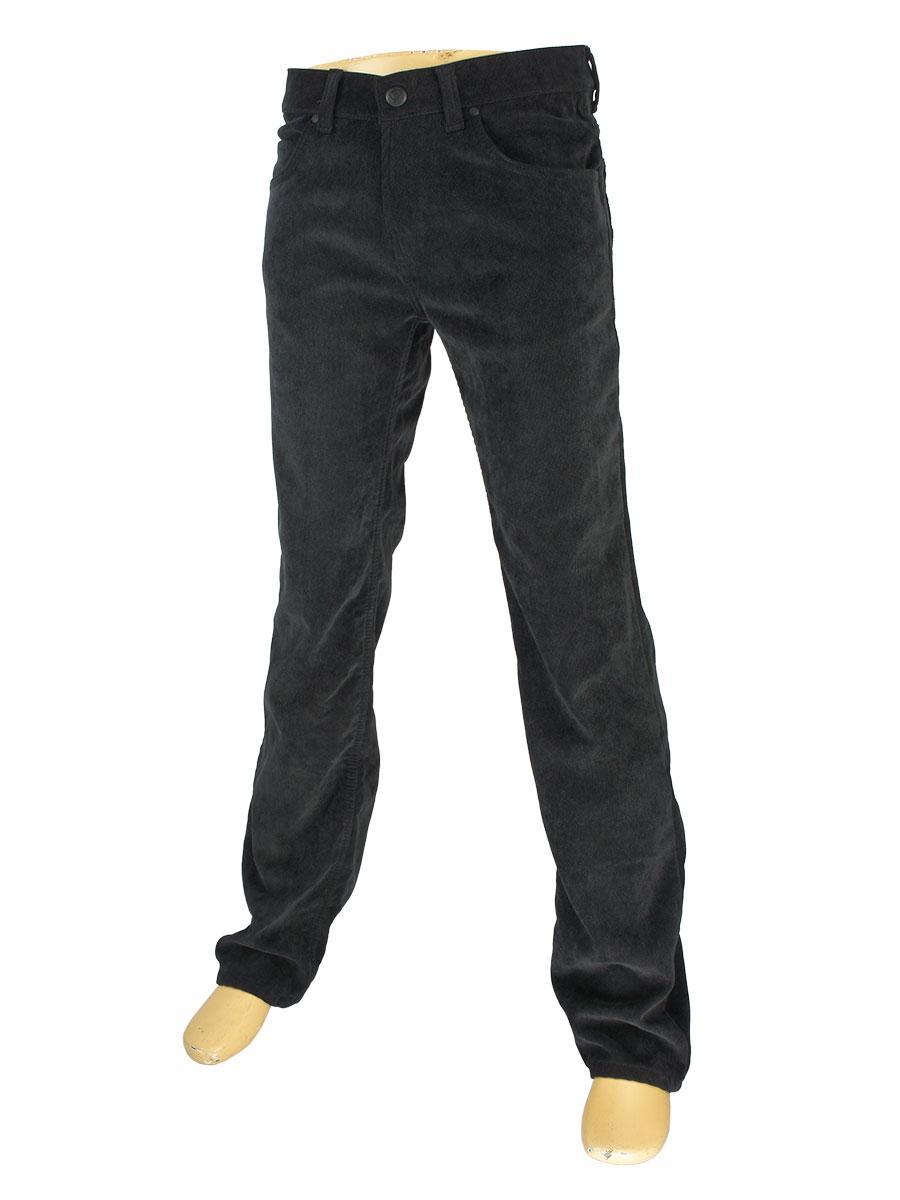 Мужские вельветовые джинсы Cen-cor MD-608-MK на флисе в черном цвете