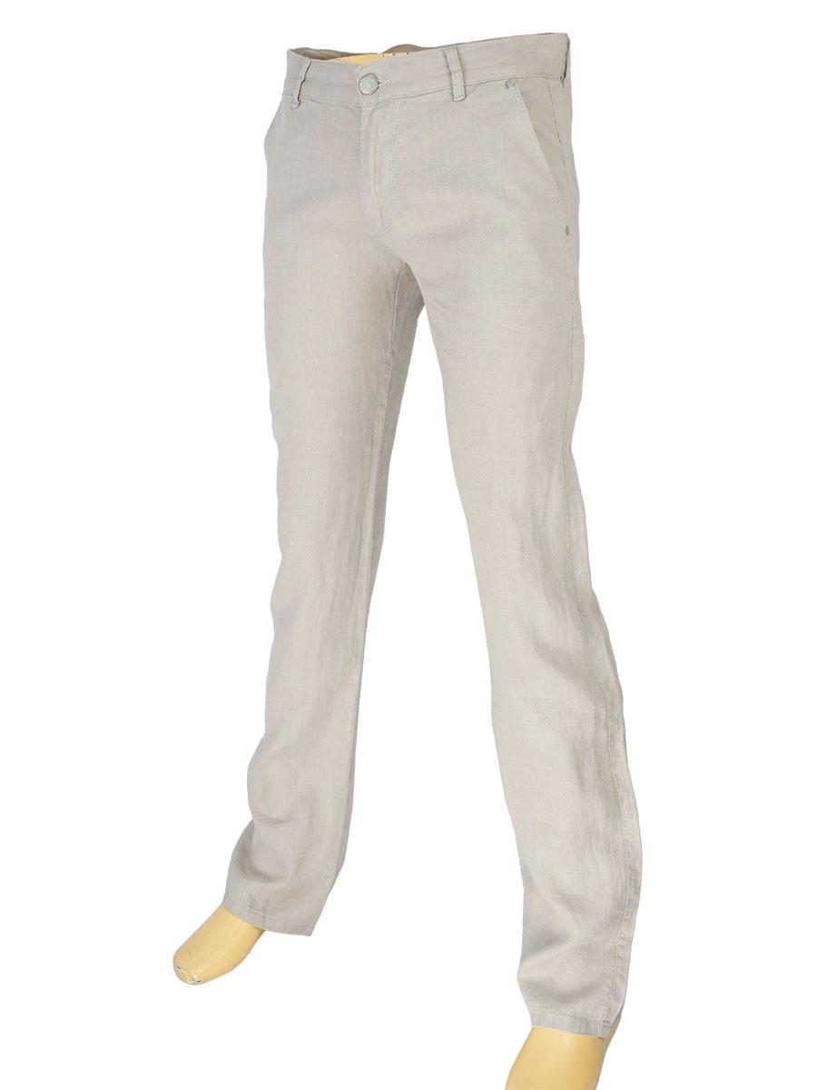 Льняные мужские джинсы Cen-cor CNC-3033 в бежевом цвете
