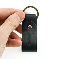 Брелок для ключей черный из натуральной кожи ручной работы Revier