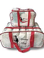 Набор из 2 прозрачных сумок в роддом Mommy Bag - S,L - Красные