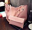 Сумка женская большая молодежная с кошельком шоппер Розовый, фото 3