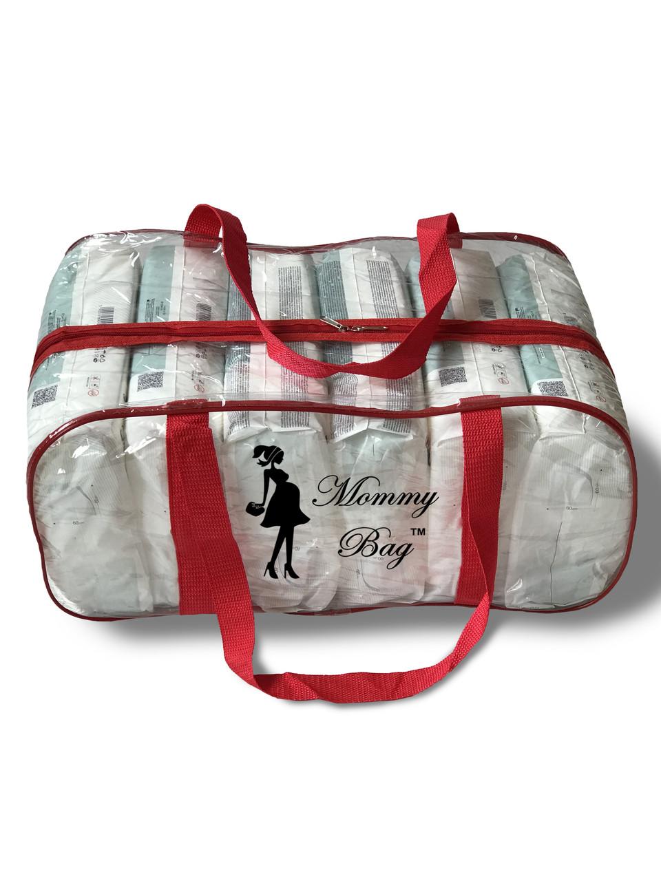 Сумка прозрачная в роддом Mommy Bag - L - 50*23*32 см Красная