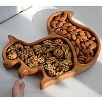 """Деревянная тарелка """"Белка"""" для сухофруктов и орехов 230*180*23мм от производителя"""