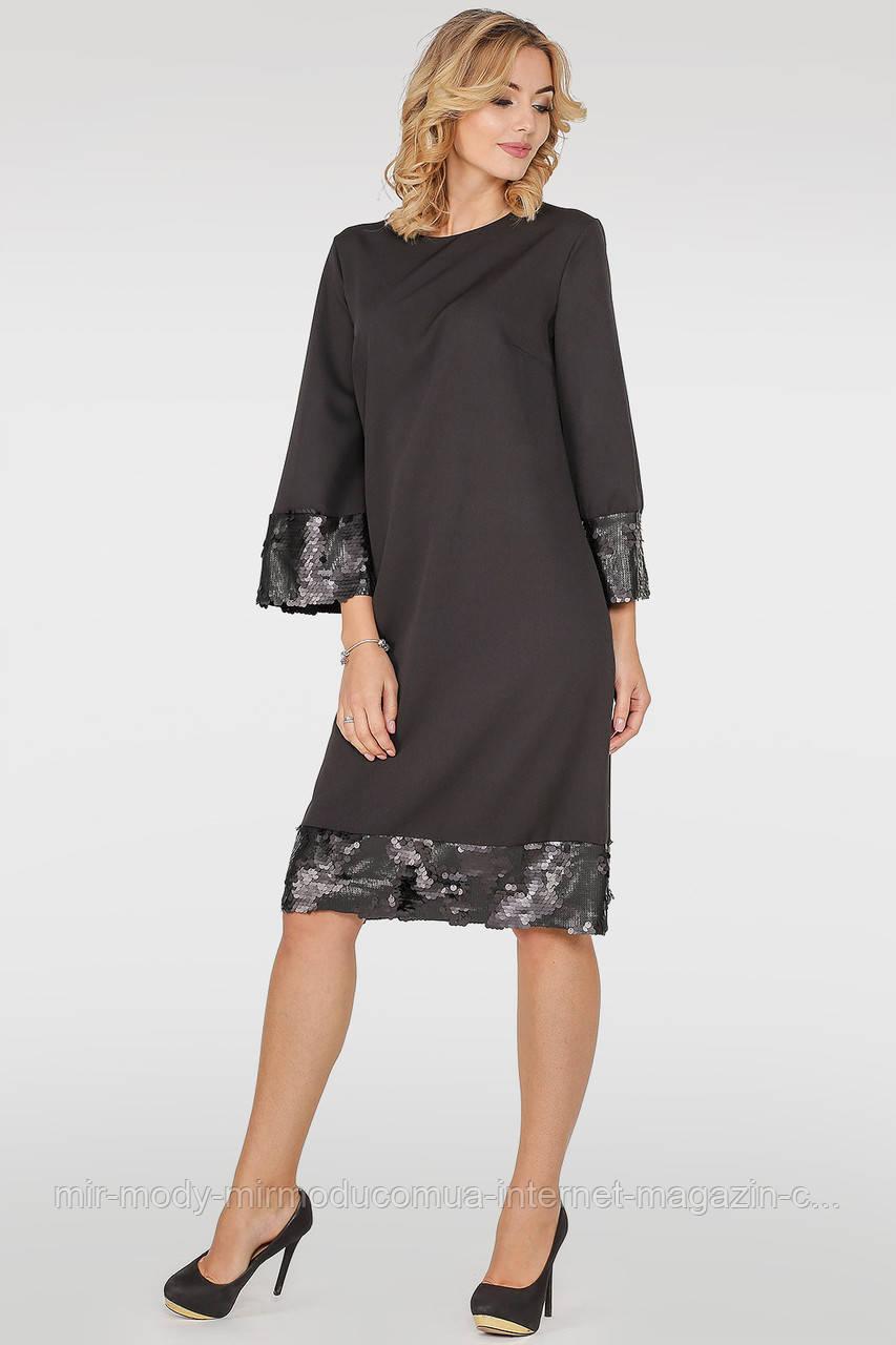 Коктейльное платье трапеция черного цвета- 3 цвета с 42 по 56 размер (wl)