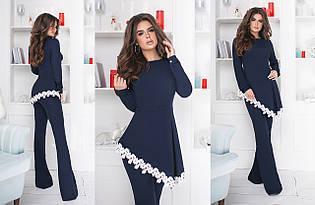 """Нарядный брючный женский костюм """"Жозель"""" с асимметричной блузой (3 цвета)"""