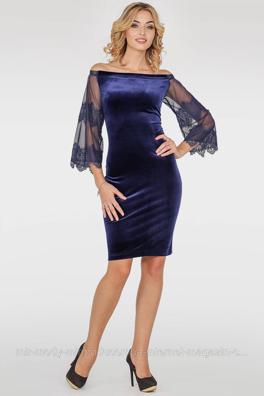 Коктейльное платье футляр синего цвета с 42 по 50 размер (wl)