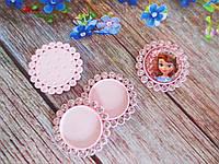 Основа пластиковая (крышечка) для серединки бантика в стразовой оправе, 30/20 мм, цвет светло-розовый