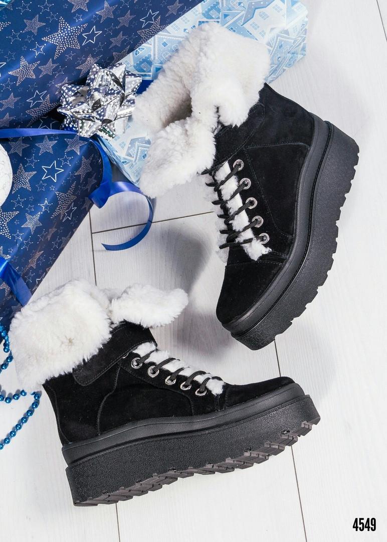 Зимние женские ботинки с отворотом (черная замша)