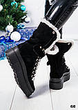 Зимние женские ботинки с отворотом (черная замша), фото 2
