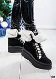 Зимние женские ботинки с отворотом (черная замша), фото 3