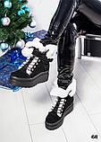 Зимние женские ботинки с отворотом (черная замша), фото 5