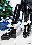 Зимние женские ботинки с отворотом (черная замша), фото 6
