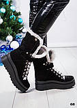 Зимние женские ботинки с отворотом (черная замша), фото 7