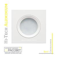 Алюминиевый светильник Hi-Tech Feron DL6102 White Aluminium (встраиваемый потолочный) белый матовый квадрат, фото 1