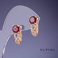 """Серьги Xuping с красными кристаллами 19х6мм """"позолота 18К"""""""