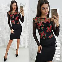 Женский костюм:  блуза с вышивкой и юбка в расцветках. СФ-28-1218