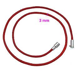 Красный шнурок на шею, под змеиную кожу, родий, р.45