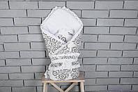 Демисезонный конверт-одеяло на выписку «Нежность», черно-белая, фото 1