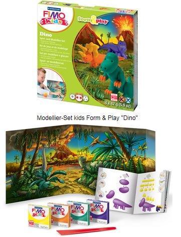 """FIMO KIDS - Комплект """"Діно"""", з особливо м'якої глини для дітей (Глина+стек+інструкція) (Німеччина)"""