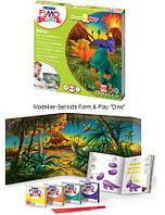 """FIMO KIDS - Комплект """"Діно"""", з особливо м'якої глини для дітей (Глина+стек+інструкція) (Німеччина), фото 1"""