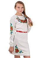 Платье вышиванка для девочки, детское, белое,  Размеры:40 и 42