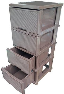 Комод пластиковый ротанг темно-коричневый на 4 ящика