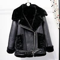 Женская теплая дубленка удлиненная с карманами Zara черная, фото 1