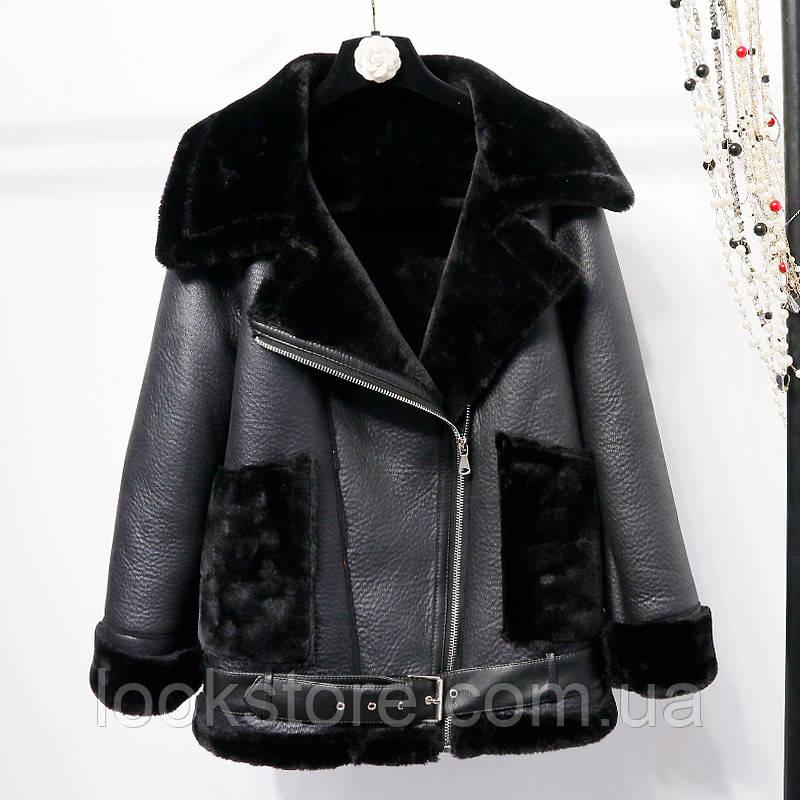 Женская теплая дубленка авиатор удлиненная с карманами черная