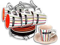 """Сервиз кофейный (чашка 200 мл) купить посуду на подарок EL-2144 на подставке """"ELINA"""""""