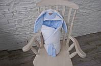 """Демисезонный конверт-одеяло на выписку """"Мамина Зайка"""", голубой, фото 1"""
