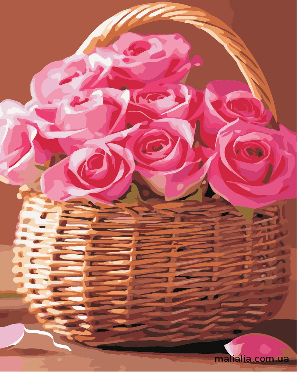 Картины по номерам 40*50 см В КОРОБКЕ Розы в корзинке Artstory
