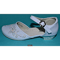 Нарядные туфли для девочки 35 размер (22 см), праздничные туфельки на каблучке