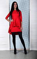 Элегантное женское платье с перфорацией красного цвета Winter D103-6 S Размер 40-42