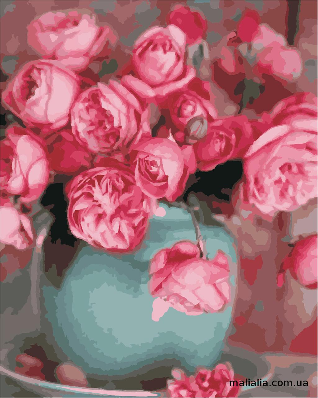 Картины по номерам 40*50 см В КОРОБКЕ Розы в вазе Artstory