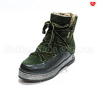 Женские ботинки бархатные шнурки