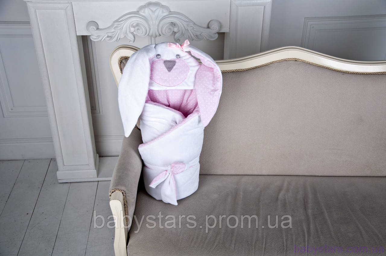"""Демисезонный конверт-одеяло на выписку """"Мамина Зайка"""", розовый"""