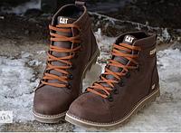 Мужские зимние кожаные ботинки в стиле CAT Expensive Chocolate со змейкой